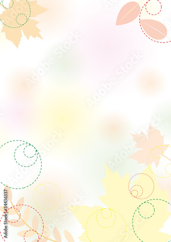 Autumn background with leaves, pastel, vector eps 10.0
