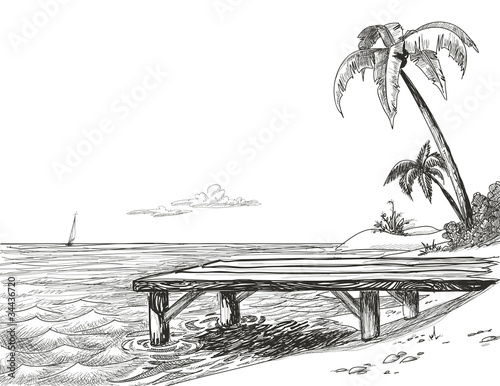 Beach, sea and wooden jetty - 34436720
