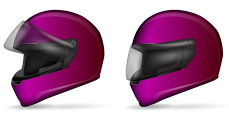 set of pink motorcycle helmet isolated on white