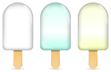 classic milk ice cream bar or ice pop isolated on white