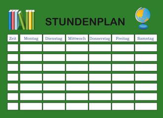 Stundenplan in grün