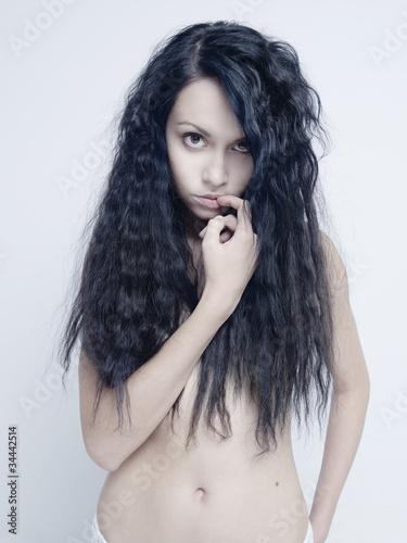 Leinwanddruck Bild Naked lady with perfect hair