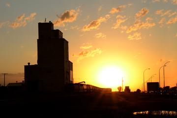 Saskatchewan Sunset and Grain Elevator