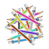 pencil paper craft stick on white background