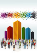 Group of business and office people with colorful city