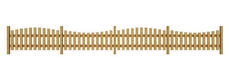 3D Holzzaun - hellbraun freigestellt 05