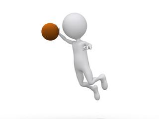 3D playing basketball making a dunk