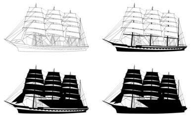 Segelschiff Silhouetten Set vier Versionen Segelboot