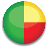 benin flag in a button