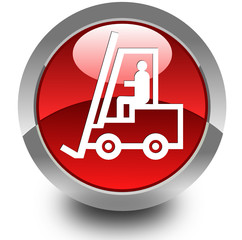 Forklift truck glossy icon