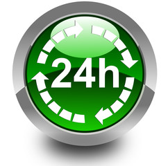 24 hours glossy icon