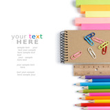 Fototapety School stationery isolated over white with copyspace