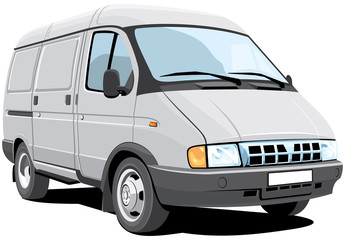 Vector isolated delivery van, without gradients.