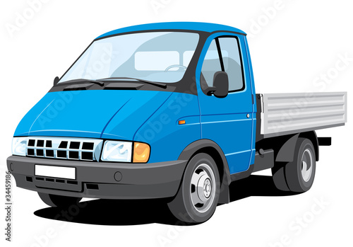 Vector isolated small cargo truck, without gradients.