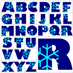 ABC Alphabet background chrystal blue design