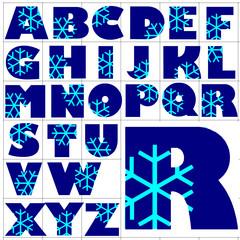 ABC Alphabet background chrystal blue design