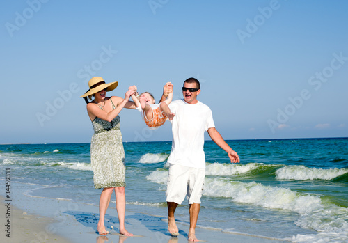 Family having fan at the beach