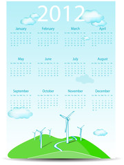 abstract calendar wind turbines isolated on white