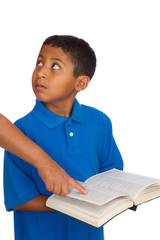 Child Looking to Person Pointing Where to Read the Bible.