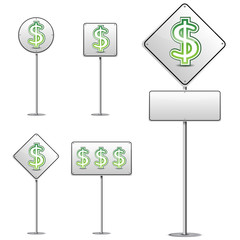 set of abstract dollar white road sign isolated on white