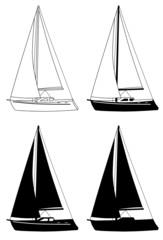 Segelboot Silhouetten Set vier Versionen Segelschiff