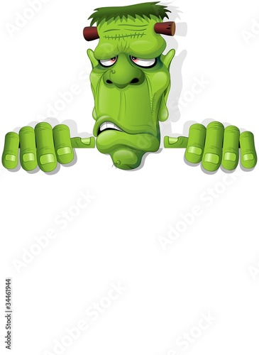 Frankenstein Halloween Cartoon Monster Background-Vector