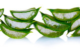 chopped leaf aloe vera isolated on white