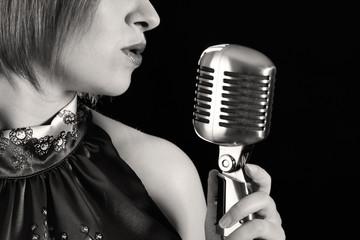Retro redhead female singer