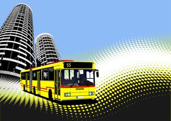 City transport on city background. Buses. Vector illustration