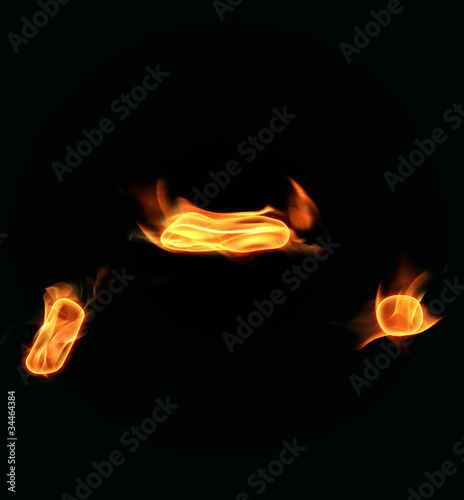 Fire alphabet symbols-comma,dot and  dash