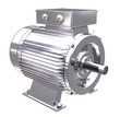A chrome or stainless electric motor on white background