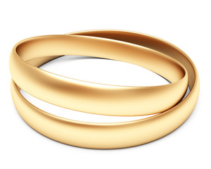 A set of gold wedding rings