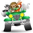Geep con Animali Selvaggi Cartoon-Savannah Wild Animals On Jeep - 34466352