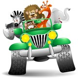 Fototapety Geep con Animali Selvaggi Cartoon-Savannah Wild Animals On Jeep