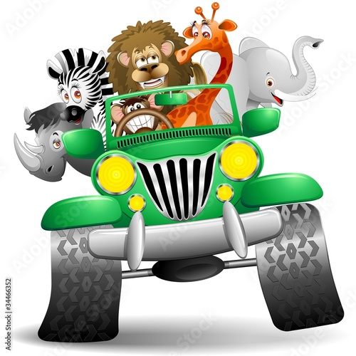 Poster Zoo Geep con Animali Selvaggi Cartoon-Savannah Wild Animals On Jeep