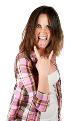 beautiful stylish girl showing rock gesture