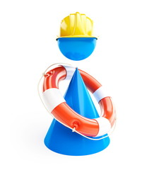 Men Rescue Life Buoy on a white background