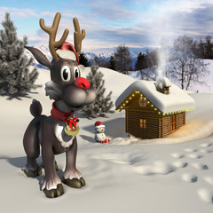 Rudolph reindeer in a Christmas landscape