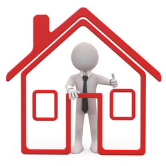 Seller of houses with a schematic house