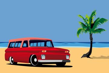 old car on the beach