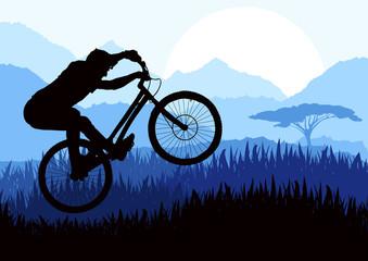 Mountain bike trial rider in wild africa nature illustration