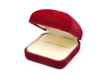開いた赤色のジュエリーケース