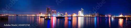 Xiamen island night scape panoramic view