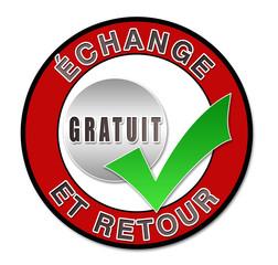 """Label """"échange et retour gratuit"""""""