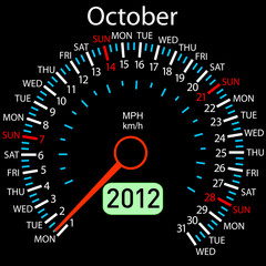 2012 year ñalendar speedometer car in vector. October.