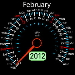 2012 year ñalendar speedometer car in vector. February.