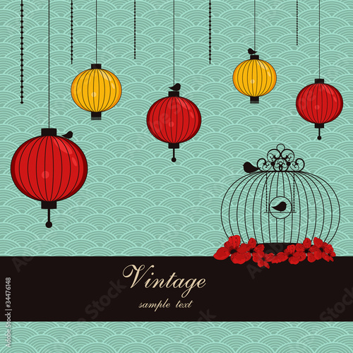 japanese background with lanterns and birdcage