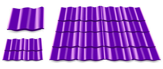 violet roof tile isolated on white background