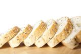 sliced sesame bred, sliced black and white sesame bread. poster