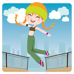 Jumping Girl Free Running